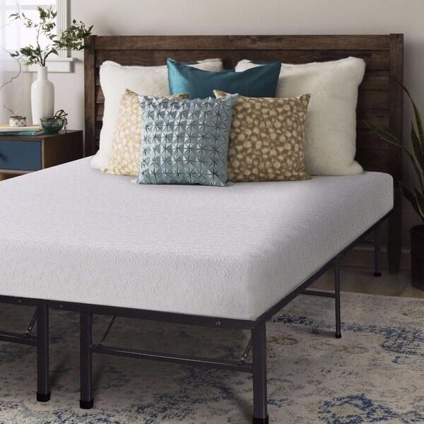 Crown Comfort 7-inch Gel Memory Foam Mattress and Steel Bed Frame Set