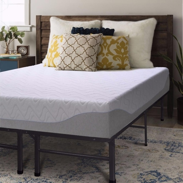 shop twin size gel memory foam mattress 9 inch with bed frame set crown comfort free. Black Bedroom Furniture Sets. Home Design Ideas