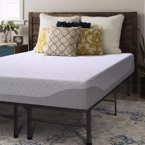 Twin size Gel Memory Foam Mattress 9 inch with Bed Frame Set - Crown Comfort