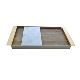 Peruke Marble Collection Brass Frame and Mango Wood Lining Tray