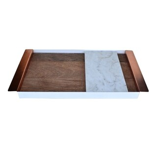 Peruke Rose Gold Steel Tray with Removable Marble Slab
