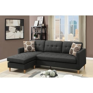 Reversible Sectional Sofa Set With 2 Accent Pillows (Option: Black)