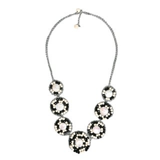Classy Black-White Embellished Coin Pearl Handmade Necklace (Thailand)