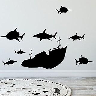 Create-A-Mural Boys Wall Decals, Vinyl Sunken Ship & Shark Wall Decals Wall Vinyl