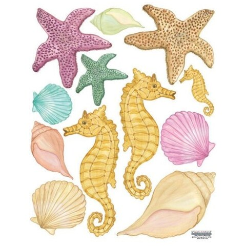 "Sea Shells Wall Stickers 5""-3"". Printed on 8.5"" x 11"" sheet Wall Vinyl"