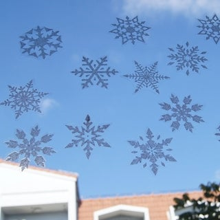 Snowflake Window Stickers Glitter Christmas Decorations Ornaments 12 Sheets 108 Pieces Wall Vinyl