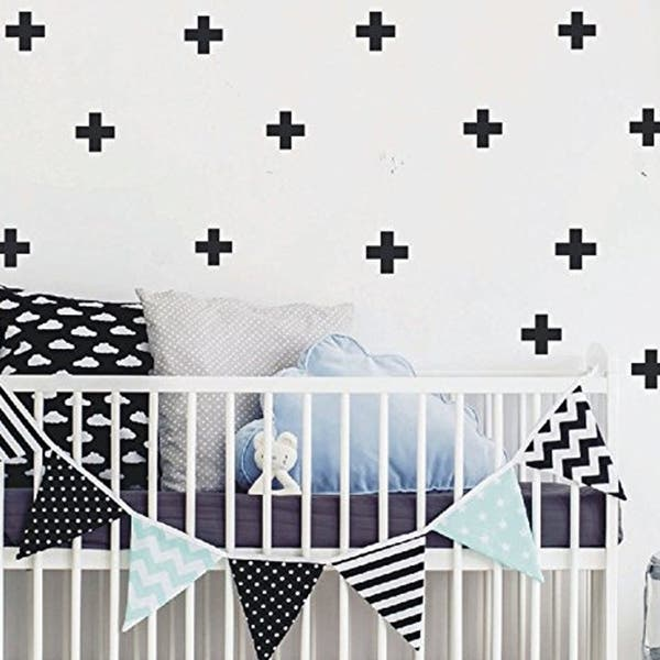 Swiss Cross Wall Decal Home Decor Wall Sticker Plus Sign Cross Stickers for  Kids Nursery Bedroom Wall Vinyl