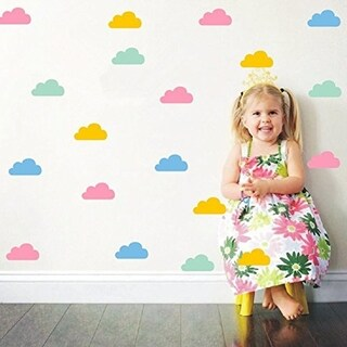 40 Set Colorful Little Clouds Wall Decal -Clouds Pattern Wall Decoration For Kids Bedroom Wall Vinyl