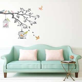 Birds on Tree Branch with Bird Cages Peel and Stick Nursery Kids Wall Decals Stickers Wall Vinyl