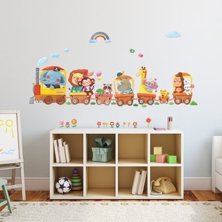 Animal Trains Peel and Stick Nursery Kids Wall Decals Stickers Wall Vinyl