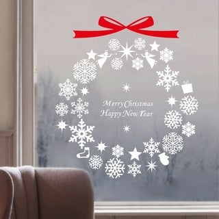 Holidays Series Merry Christmas Happy New Year Round Shape Removable Vinyl Window Wall Art Wall Vinyl