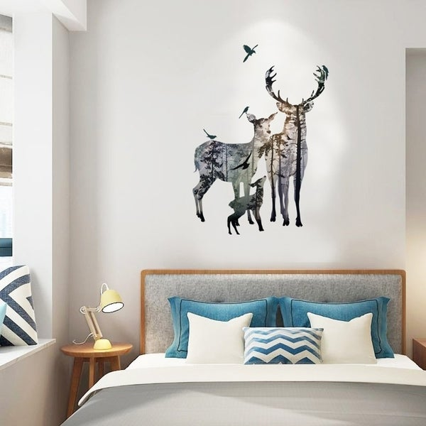 shop 3d nordic style deer forest vivid removable mural wall stickers