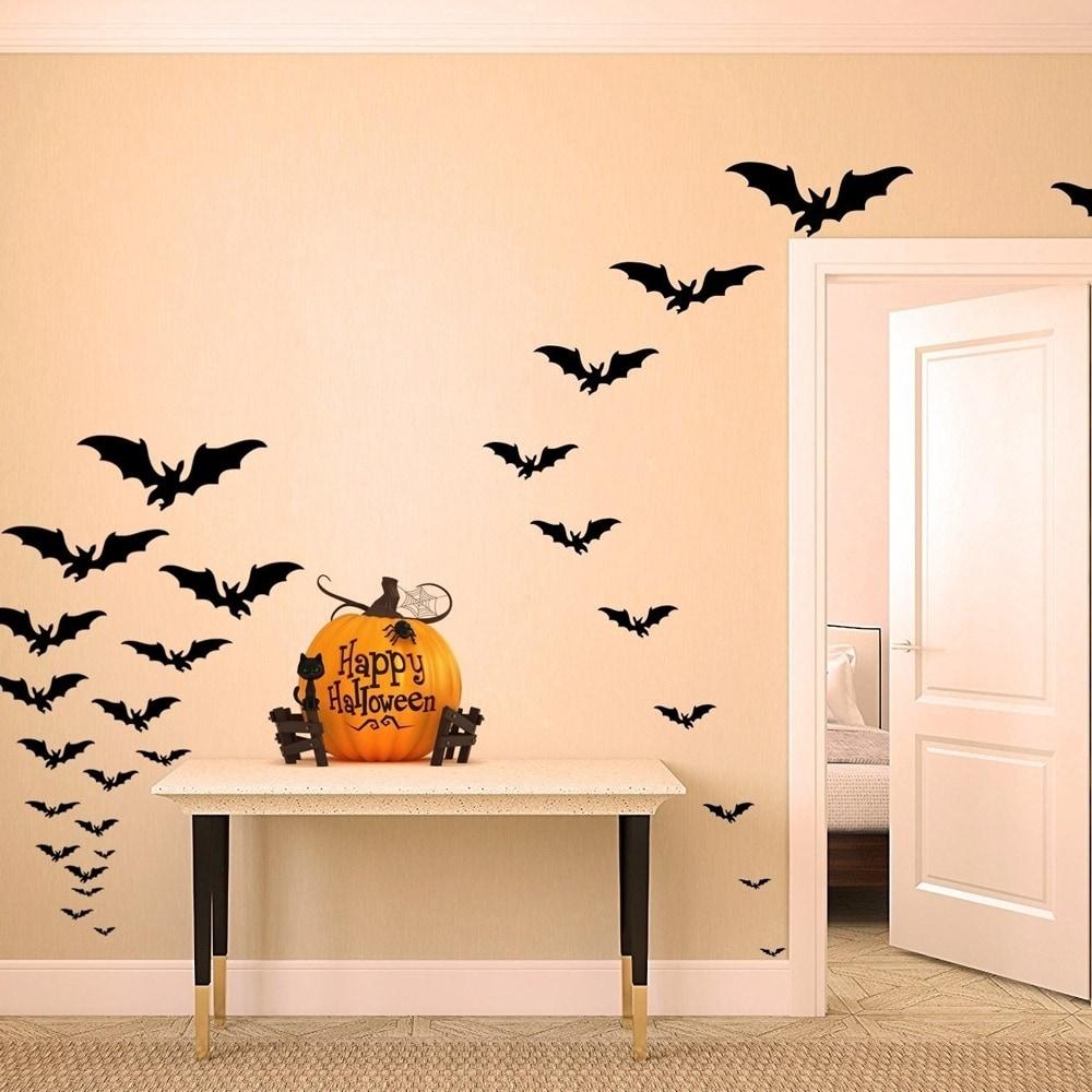 Shop Halloween Decor Spooky Matt Black Bats Set Of 66 Wall Vinyl