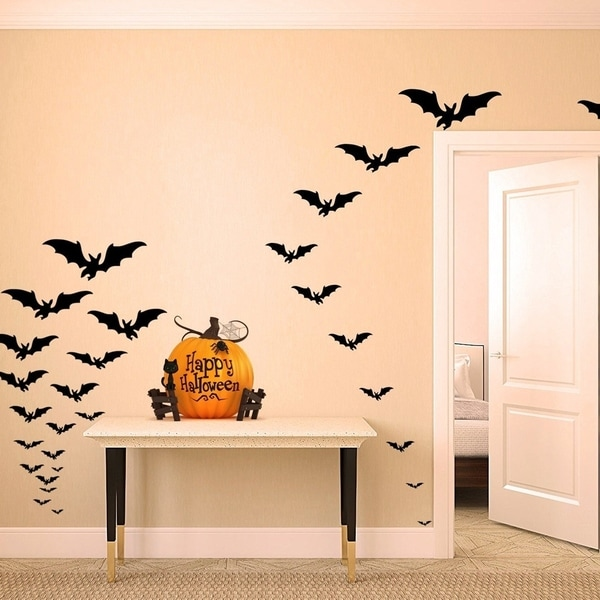 Halloween Decor Spooky Matt Black Bats Set of 66 Wall Vinyl