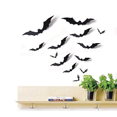 24 PCS Bat Cutouts 3D Assorted Sizes Black - Halloween Wall Vinyl