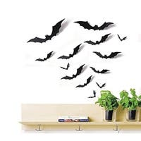 24 PCS Bat Cutouts 3D Assorted Sizes Black - Halloween Wall Vinyl