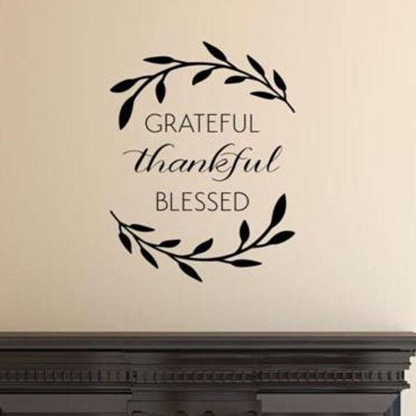 Grateful Thankful Blessed Wall Art Decal Quote Words Lettering Decor Wall  Vinyl