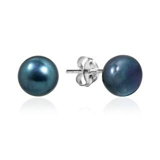 Handmade Elegant Round Pearl Sterling Silver Stud Earrings (Thailand)