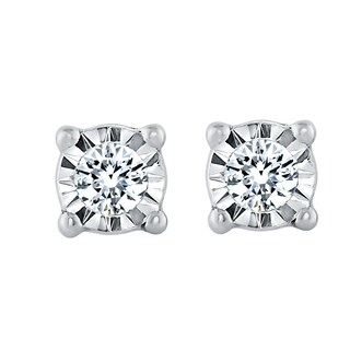 Sterling Silver 1/10ct TDW Diamond Stud Illusion Set Earrings