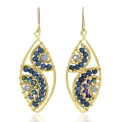 Handmade Motif Beads Marquise Brass Dangle Earrings (Thailand)