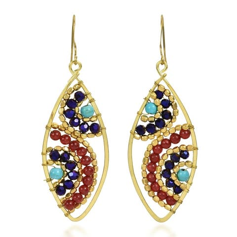 Handmade Motif Beads Marquise Brass Dangle Earrings (Thailand)
