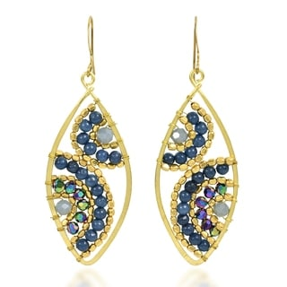 Motif Beads Marquise Lapis Brass Dangle Earrings (Thailand)
