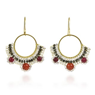 Handmade Two Tone Beads Luster Brass Dangle Earrings (Thailand)