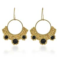 Handmade Boho Gold Beads Brass Dangle Earrings (Thailand)
