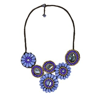 Sweet Blue Clouds Flower Embellished Statment Necklace (Thailand)