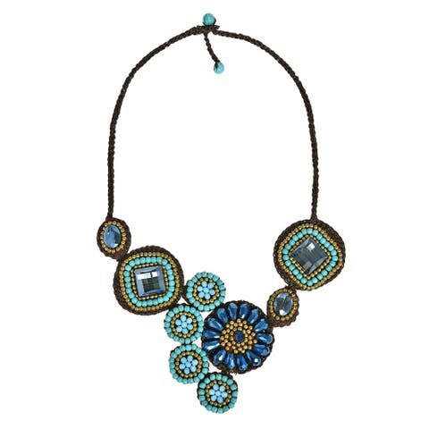 Handmade Geometric Floral Turquoise Round Flower Blue Statement Necklace (Thailand) - grren turquoise