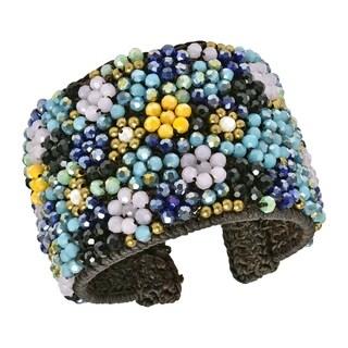Mosaic Mini Daisy Multi-Blue Crystal Floral Wide Cuff (Thailand) (Option: Cuff)