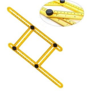 Practical Four Folding Plastic Angle Ruler Metric Scale Multifunctional Measuring Tools - YELLOW