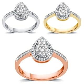 AMOUREUX 14k Gold 1/3 TDW Diamond Pear Shaped Engagement Ring (I/J, I1-I2) - White I-J