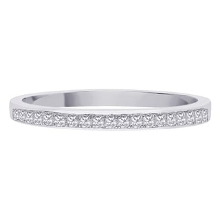 10K White Gold 1/10ct TDW Princess Diamond Wedding Band (G-H, I3)