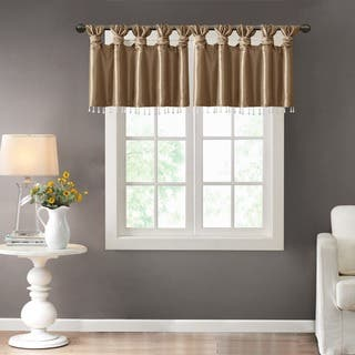 Madison Park Natalie Twisted Tab Valance With Beads in Spice (As Is Item)|https://ak1.ostkcdn.com/images/products/17980334/P91025903.jpg?impolicy=medium