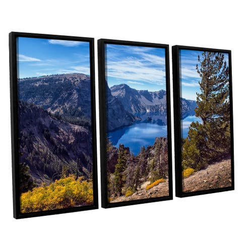 ArtWall Frank Wilson's 'South Rim of Crater Lake' 3-piece Floater Framed Canvas Set