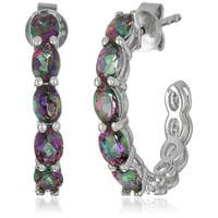 "Pinctore Sterling Silver Mystic Topaz Half Hoop Earrings, 0.75"" - Green"