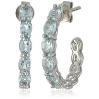 """Sterling Silver Sky Blue Topaz Half Hoop Earrings, 0.75"""""""
