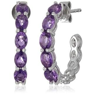 """Sterling Silver African Amethyst Half Hoop Earrings, 0.75"""" - Purple"""