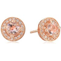 Rose Gold-plated Silver Morganite Round Halo Stud Earrings - Peach