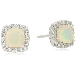 Sterling Silver Ethiopian Opal And Created White Sapphire Cushion Halo Stud Earrings