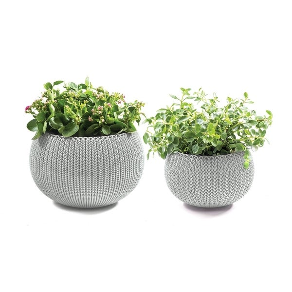 Keter Cozies Small & Medium Knit Texture Planters (Set of 2). Opens flyout.