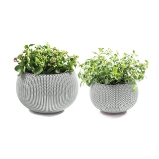 Keter Cozies Small & Medium Knit Texture Planters (Set of 2)
