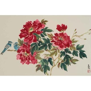 """""""Blue Jays and Red Peonies"""" by Jamaliah Morais, Canvas Giclee Wall Art"""