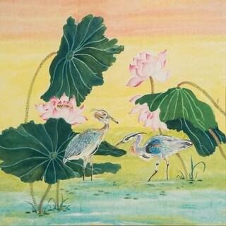 """Herons in Lotus Pond I"" by Jamaliah Morais, Canvas Giclee Wall Art"
