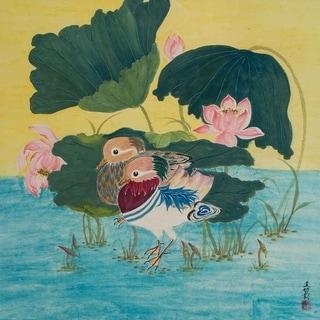 """Mandarin Duck in Lotus Pond II"" by Jamaliah Morais, Canvas Giclee Wall Art"