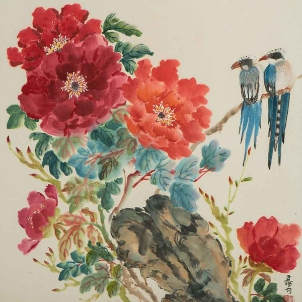 """Mountain Jays and Peonies"" by Jamaliah Morais, Canvas Giclee Wall Art"