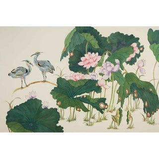 """Herons in Lotus Pond II"" by Jamaliah Morais, Canvas Giclee Wall Art"