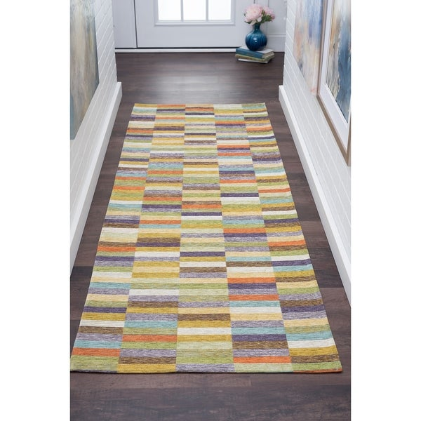 Alise Rugs Drayton Multicolored Acrylic Chenille Color Block Runner (2'7 x 7'3)