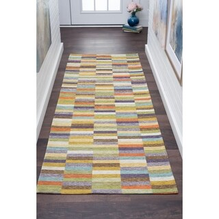 Alise Rugs Drayton Multicolored Acrylic Chenille Color Block Runner (2'7 x 7'3)